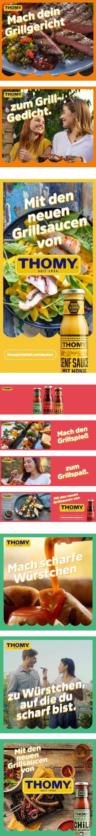 Group of teaser images about THOMY sauces