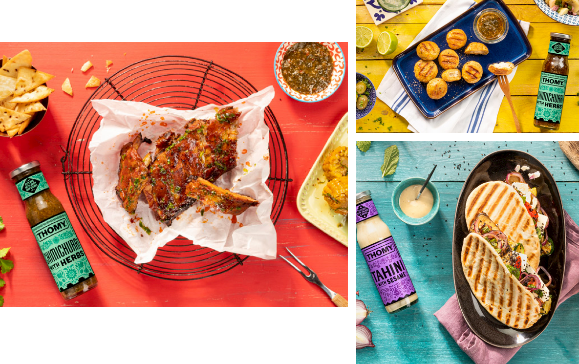 Group of images of food accompanied by THOMY sauces