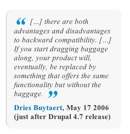 […] there are both advantages and disadvantages to backward compatibility. […] If you start dragging baggage along, your product will, eventually, be replaced by something that offers the same functionality but without the baggage. — Dries Buytaert, May 17 2006 (just after Drupal 4.7 release