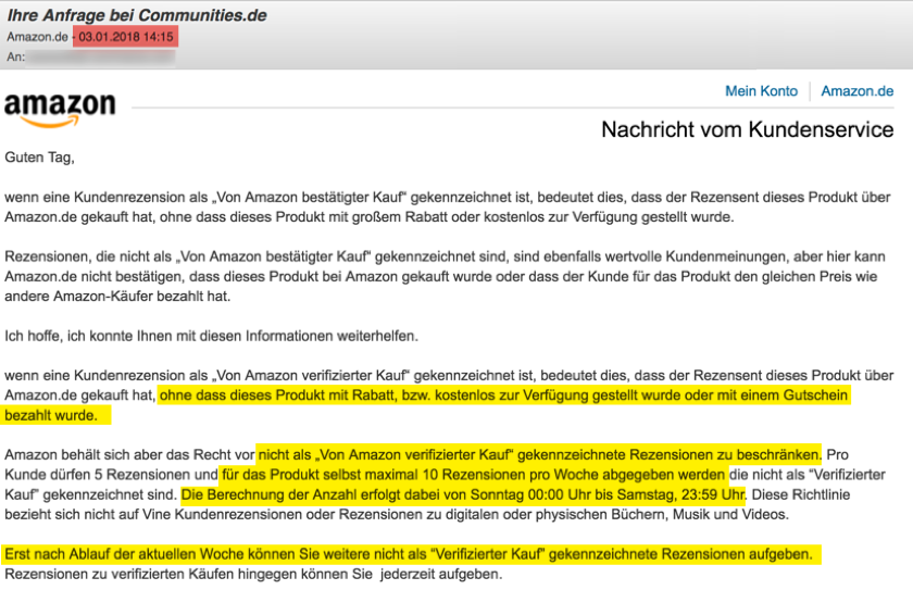Statement by Amazon.de on the limitation of reviews of un-verified purchases of product testers