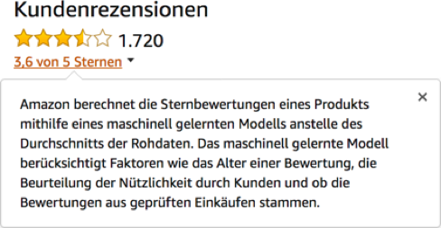 Amazon.de star ratings based on the machine learning model